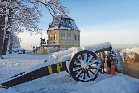 Advent v Saském Švýcarsku - pevnosti Königstein, B - Německo v prosinci - levně