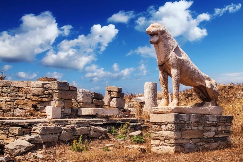 Lví terasy na ostrově Délos, Řecko