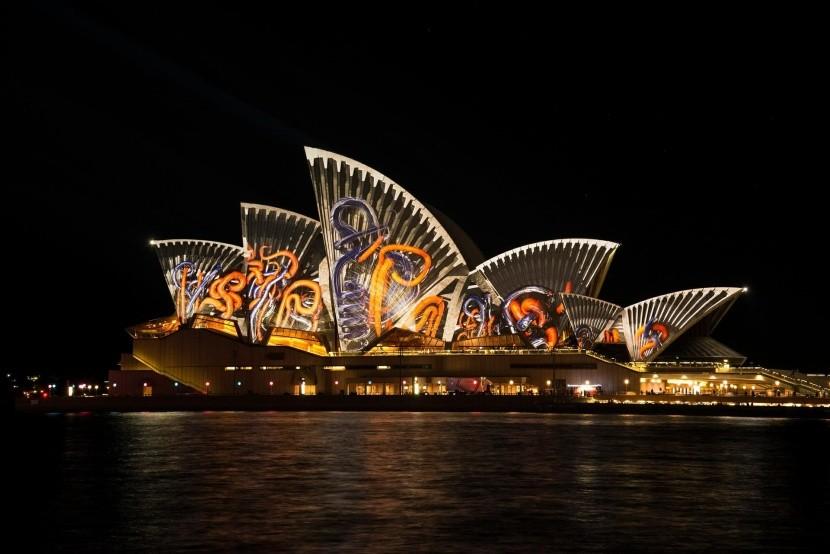 Světelná show na Sydney Opera House