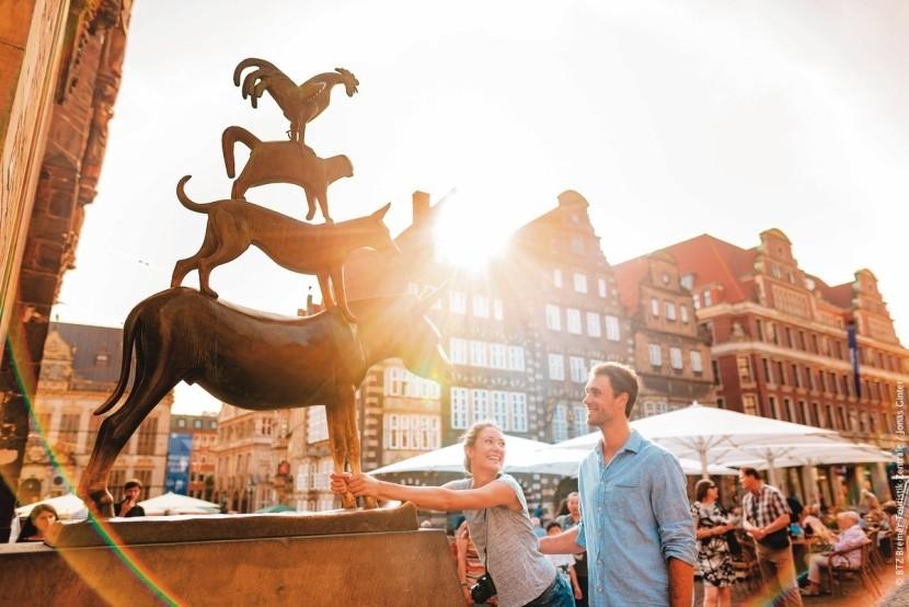 Pohlazení oslíka v Brémách  přináší štěstí