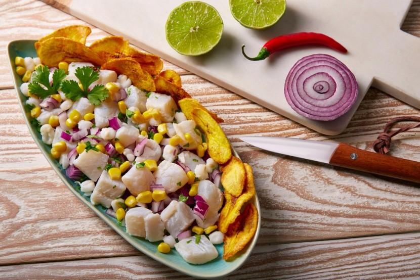 Ceviche a smažené banány z Peru