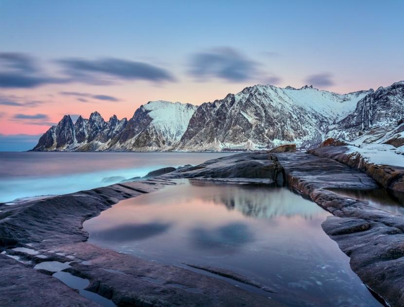 Ledové království v regionu Tromsø v Norsku