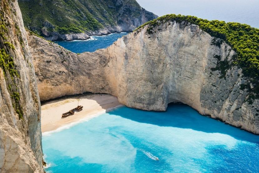 Pláž Navagio s vrakem, Zakynthos, Řecko