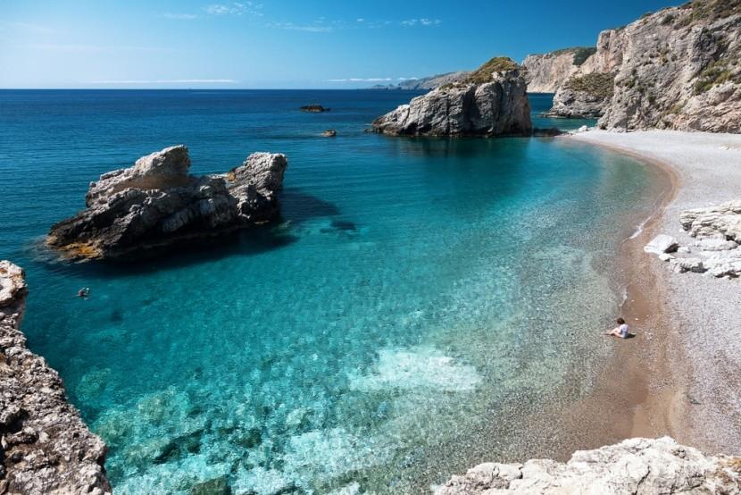 Pláž Kaladi na řeckém ostrově Kythira